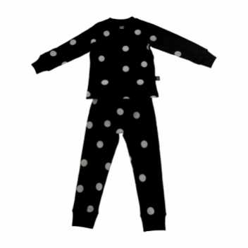 Prikket sort pyjamas, 6 - 7 år